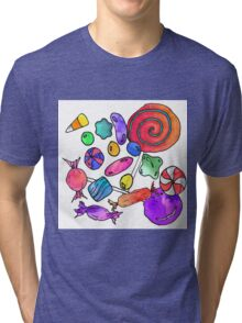Scattered Colorful Watercolor Hand Drawn Candy Tri-blend T-Shirt