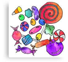 Scattered Colorful Watercolor Hand Drawn Candy Canvas Print