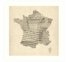 Map of France Old Sheet Music Map Art Print