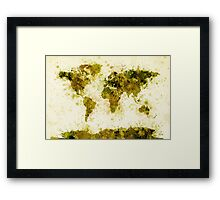 World Map Paint Splashes Yellow Framed Print