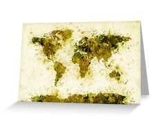 World Map Paint Splashes Yellow Greeting Card