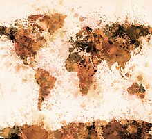 World Map Paint Splashes Bronze by Michael Tompsett