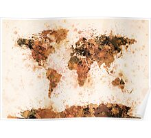 World Map Paint Splashes Bronze Poster
