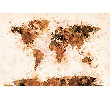 World Map Paint Splashes Bronze Photographic Print