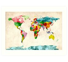 World Map Watercolors Art Print