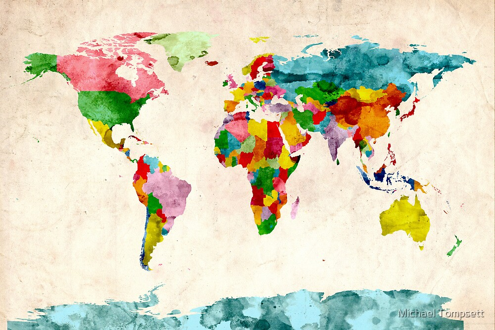 World Map Watercolors by Michael Tompsett