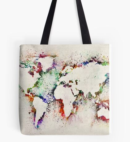 Map of the World Paint Splashes Tote Bag