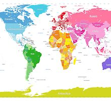 Continents World Map by Michael Tompsett