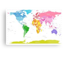 Continents World Map Metal Print