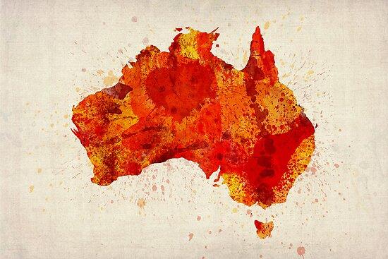 Australia Watercolor Map Art Print by Michael Tompsett