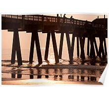 Sunrise through the pier Poster