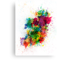 Ireland Map Paint Splashes Canvas Print