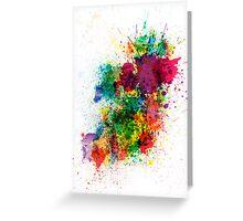 Ireland Map Paint Splashes Greeting Card
