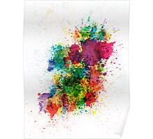 Ireland Map Paint Splashes Poster