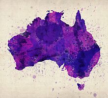 Australia Watercolor Map Art Print by Michael Tompsett