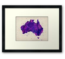 Australia Watercolor Map Art Print Framed Print