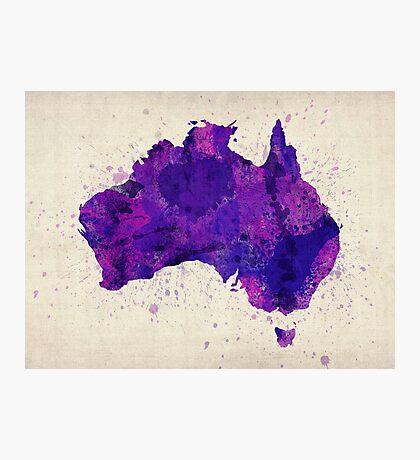 Australia Watercolor Map Art Print Photographic Print