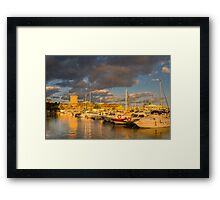 Evening clouds over the marina Framed Print