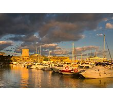 Evening clouds over the marina Photographic Print