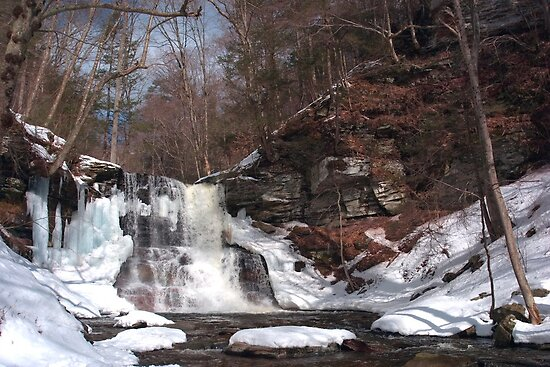 Early March Morning At Sheldon Reynolds Falls (as-is) by Gene Walls