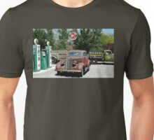 Vintage cars and trucks at vintage service station Unisex T-Shirt