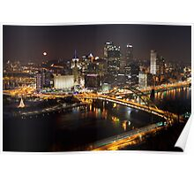 Downtown Pittsburgh at Night Poster