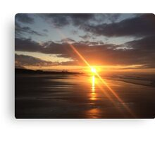 Bamburgh Beach Sunset #2 Canvas Print