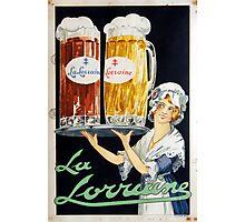Vintage La Lorraine French Beer Advertising Photographic Print