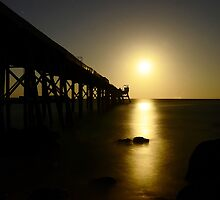 Full Moon at the Pier. by Julie  White
