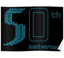 50th Anniversary Neon Blue Poster Poster