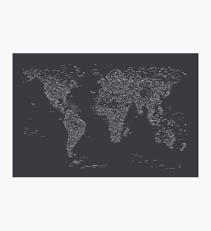 World Map of Cities Photographic Print