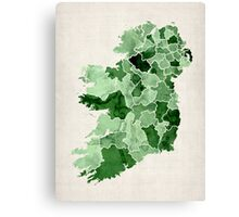 Ireland Watercolour Map Canvas Print