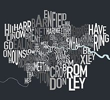 London UK Text Map by Michael Tompsett