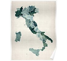 Watercolor Map of Italy Poster