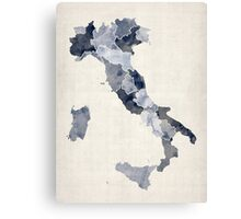 Watercolor Map of Italy Canvas Print