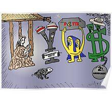 Yen Euroman et Bucky les monnaies sages caricature Poster