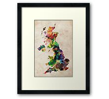 United Kingdom Watercolor Map Framed Print