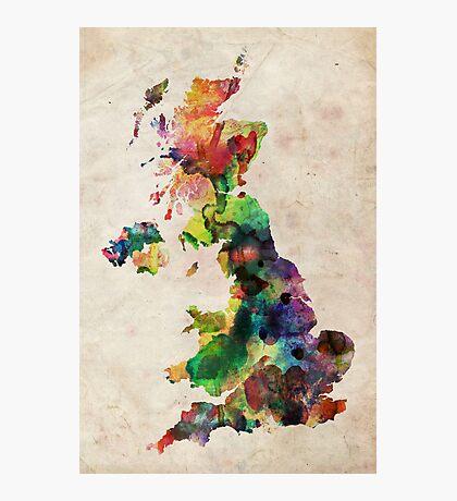 United Kingdom Watercolor Map Photographic Print