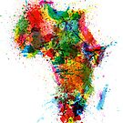 Paint Splashes Map of Africa Map by ArtPrints