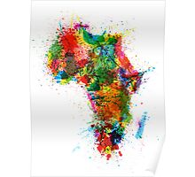 Paint Splashes Map of Africa Map Poster