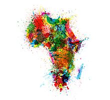 Paint Splashes Map of Africa Map Photographic Print
