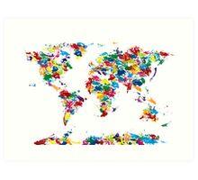 World Map Paint Drops Art Print