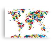 World Map Paint Drops Canvas Print