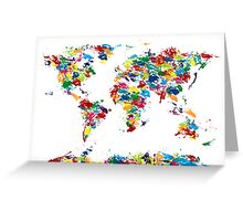 World Map Paint Drops Greeting Card