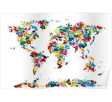 World Map Paint Drops Poster