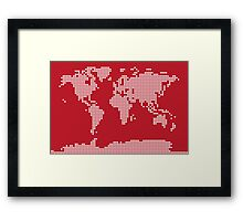 World Map Love Hearts Framed Print