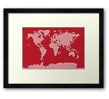 World Map Love Hearts Framed Print