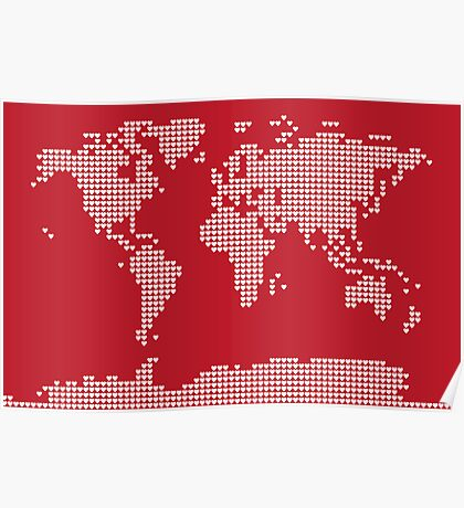 World Map Love Hearts Poster