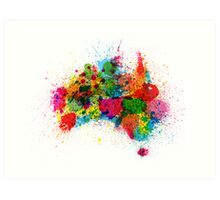 Australia Paint Splashes Map Art Print