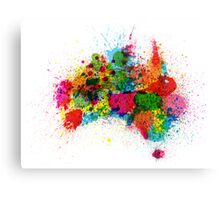 Australia Paint Splashes Map Canvas Print